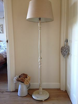 Beautiful Standard Floor Lamp Country Cream Shabby Chic Shade Included