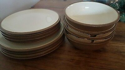 Denby brown cappucino dinner plates and bowls set.