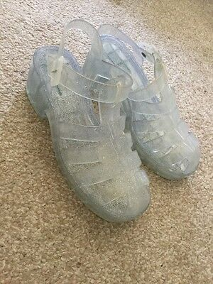 Hardly Worn River Island Glitter Jelly Shoes with chunky heel size 3/36