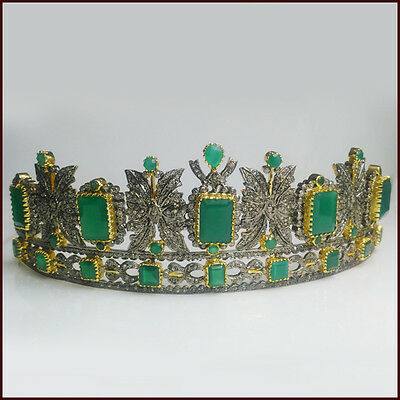 15.85 Ct Natural Diamond Sterling Silver Victorian Vintage Emerald Tiara Crown