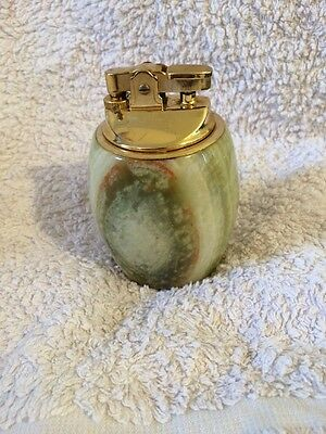 Vintage Retro Table Lighter 70s Seventies Paperweight Natural Stone Onyx Marble