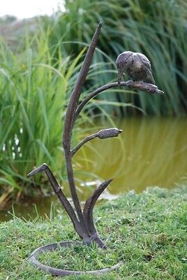 Metal Kingfisher Garden Ornament On Reeds. Bronze Effect. Bird