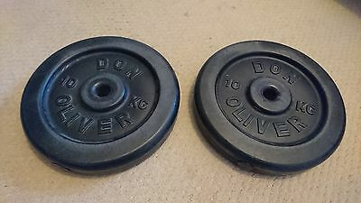 10kg Weight Plates (Plastic filled) x 2 with Heavy Duty Barbell