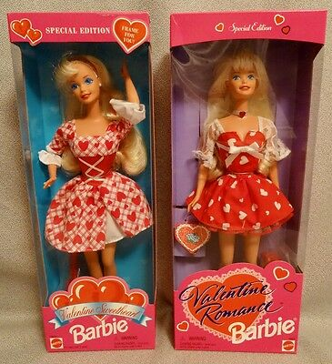 2 Valentine Barbie Dolls From The 1990'S - Mint & Factory Sealed