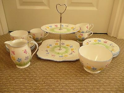 Vintage Hand Painted Floral Royal Grafton Afternoon Tea Set For 4 (15 Pcs)