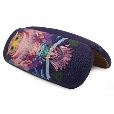 Vintage Owl Pattern Hard Glasses Case Faux Leather Eyeglass Storage Box Eyewear