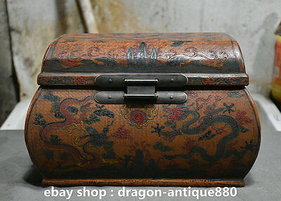 "12"" Ming Dynasty Old China Lacquerware Wood Palace Dragon Storage Cabinet Box"