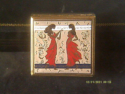 Vintage Art Deco Enamel Musical Compact. Works Beautifully