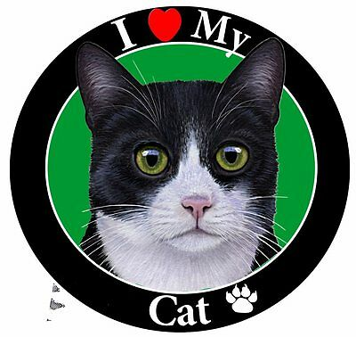 Black and White Cat Car Magnet