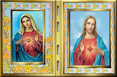 Sacred Heart Of Jesus & Mary Stained Glass Effect Plaque Statues Pictures Listed