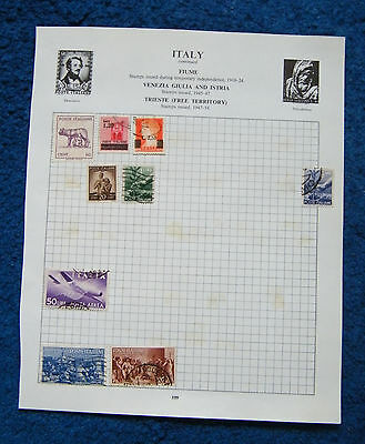 Eight Old Album Pages with Italy Stamps.
