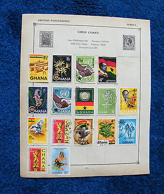 Four Old Album Pages with Ghana Stamps.