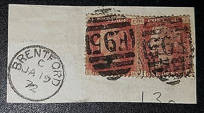 GB QV SG43 1d red Plate130 EH,TH Cancel BRENTFORD used stamps on paper (No1887)