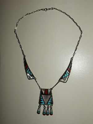 Vintage Native American Silver Necklace By Zuni R.l.
