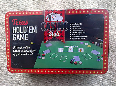 TEXAS HOLD'EM CASINO STYLE POKER SET Gaming Mat/200 Chips/2 Decks NEW/SEALED