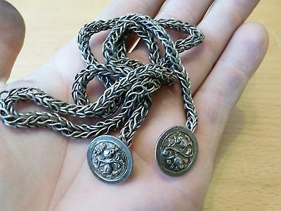 Unusual Vintage SILVER Item. Chain with Buttons Each End