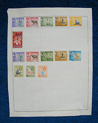 Old Album Page with Lesotho / Basutoland Stamps.