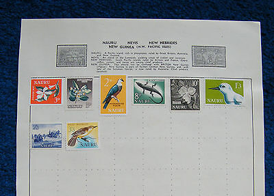 Old Album Page with Nauru Stamps.