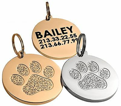 Personalized Dog Cat Pet Tag 24K Gold or Chrome Plated Custom Engraved S L