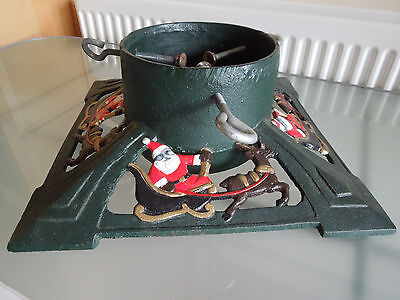 Vintage Cast Iron Christmas Tree Stand / Clamp ~ Decorated Santa & Sleigh ~Heavy