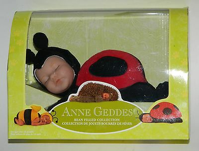 "Anne Geddes 8"" Sleeping Baby Ladybug Doll Bean Filled Collection New In Box"