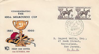 N 1855 WCS Melbourne Cup October 1960 FDC; Clarence Street Sydney cds