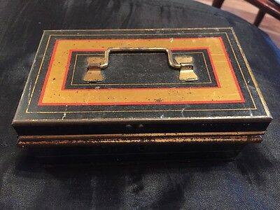 Great Vintage Metal Money Tin With Lift Out Interior And Key