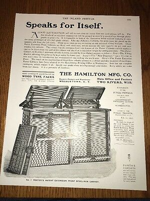 Hamilton Manufacturer Wood Type Faces Drawers Printing Industry Ad 1901 Graphic