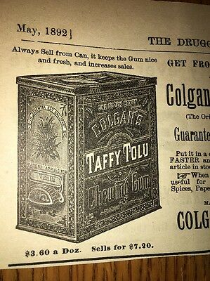 Colgan & McAfee Taffy Chewing Gum Louisville Kentucky 1892 Ad Tin Illustrated