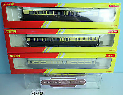 Hornby 'oo' Gauge Rake Of 3 R4523 / R4524 / R4525 Gwr Coaches Boxed #449W