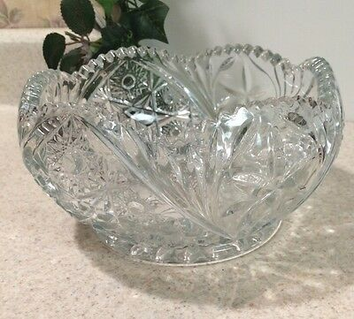"""Vintage Clear Cut Etched Glass Ornate 7"""" Serving Candy Dish Bowl"""