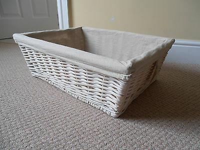 Wicker Basket - Extra Large Size - White Cream shabby chic - Collect nr Chepstow