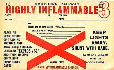 Southern Railways Wagon Label - Highly Inflammable - Unused & Unmarked