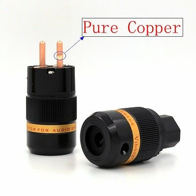 Viborg Pure Copper Schuko Power Plug Connector +IEC Female Connector Plug