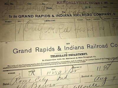 Lot If 2 Grand Rapids & Indiana  Railway Kendallville Station Letterhead 1891
