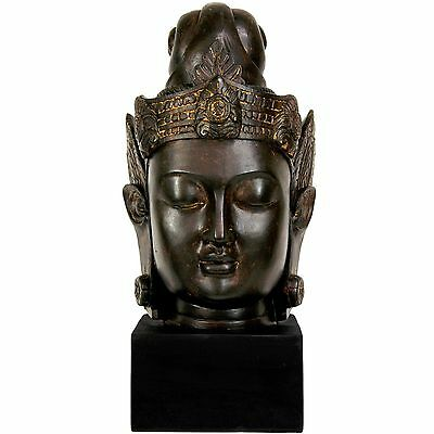 "Handmade Buddha Head Statue Antique Bronze Finish 16"" High On 3.5"" Black Stand"