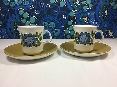 Vintage J & G Meakin Studio Topic Cups and Saucers Set 2 Retro 1960s Blue Brown
