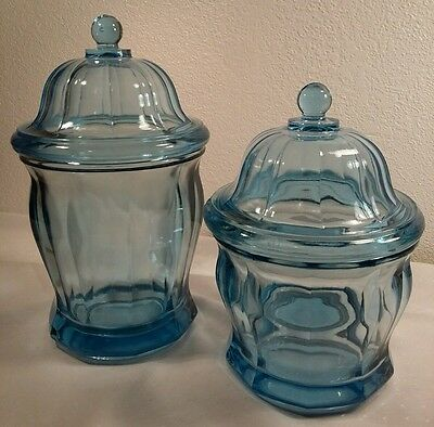 2 Indiana Glass Colonial Style Blue Depression Glass Biscuit Jars W/Lids