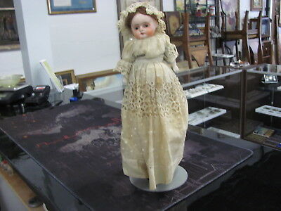"Antique Papiermache Paper Mache Doll 14 1/2"" With Stand 283-007"