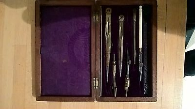 antique brass drawing instruments in wooden box