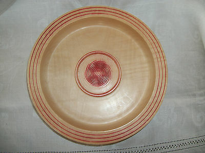 Turned handmade Sycamore wood Bowl with central spiral decoration