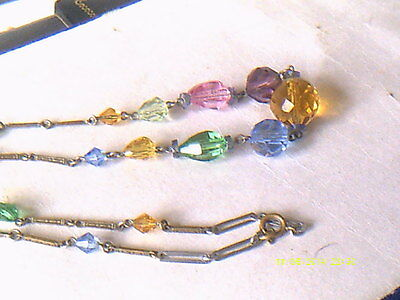 Edwardian Crystal Bead And Metal Link Necklace