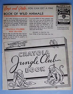 Vintage 1935 Magazine Advertisement: CRAYOLA JUNGLE CLUB BOOK ~ SCHOOL CRAYONS