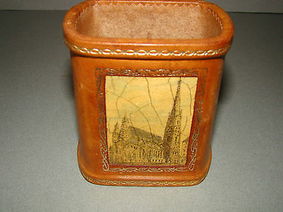"""Antique Reuge Decorative Leather & Wood Desk Music Caddy Box~""""the Blue Danube"""""""