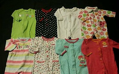 Baby Girl Size 0-3 Months Spring & Summer Clothing Lot Sleepers