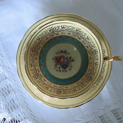 Aynsley cup and saucer, full size, blue and cream, made in England