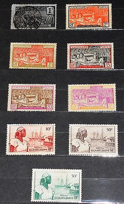 GUADELOUPE 1905, 1928, 1939 & 1947 Bundle of 9 Stamps