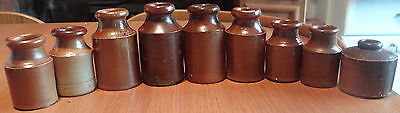 AWESOME! ANTIQUE CIVIL WAR ERA 1860s VICTORIAN INK CROCK'S.STONEWARE.CALLIGRAPHY