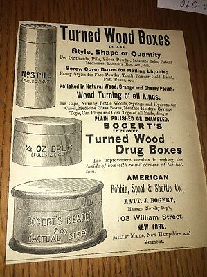 Bogert wood boxes for drugs 1892 Ad Graphic Illustrated