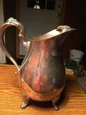 Vtg International Silver Co Footed Pitcher Countess W/Ice Lip. Floral 6217